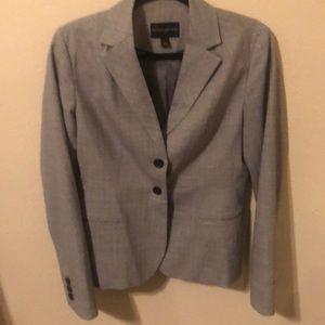 Gray pinstripe Banana Republic suit.